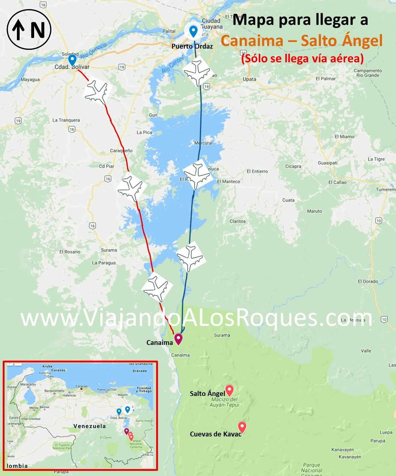 Campamentos como llegar mapa precios paseos en canaima for Como llegar al ministerio del interior